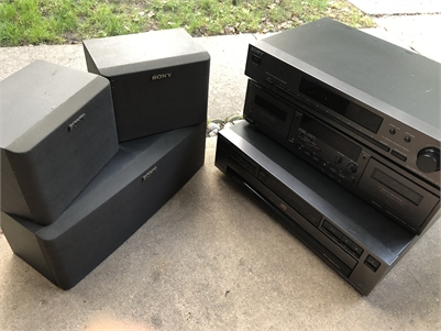 Sold! Sony Stereo Units: FM Stereo Tuner, Cassette Deck, CD Player, Speakers.