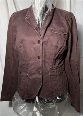 calvin klein chocolate brown jacket size small snap down waist hugger jacket with pockets