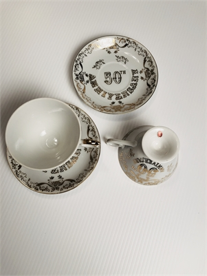 SOLD! Vintage 50th Anniversary Cups and Saucers Set from Cherry Hill, NJ
