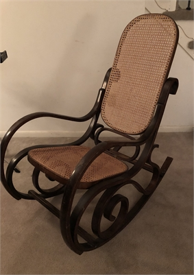 Scrolled rocking chair. Rocker. Caning. Caned. Cherry Hill NJ