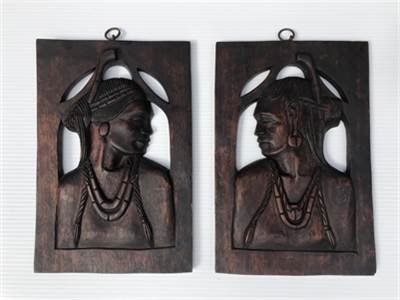 Carved Philippine Art.  Male And Female Bust Panels. Wood Carvings. Antique. Cherry Hill, NJ 08034