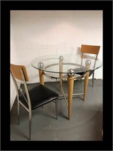 SOLD! kitchen dinette set. Glass table with 2 chairs. Cherry Hill, NJ