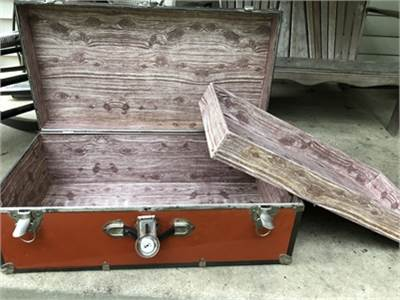 Retro item, orange trunk,  collegiate trunk, foot locker-cherry-hill-nj