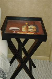 Sold! Small Bar Motif Tray Table, Cherry Hill, NJ
