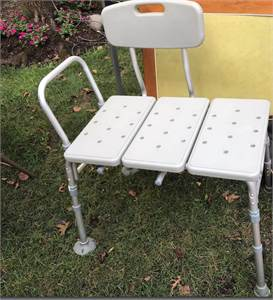 Drive Medical Plastic Tub Transfer Bench with Adjustable Backrest (shower bench) Cherry-Hill-NJ
