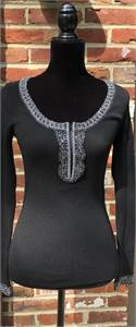CACHE casual or dressy long sleeve Women's SMALL Black Stretchy Ribbed Knit Top