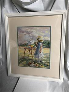 Young Girl Painting White frame, framed, matted, peaceful picture 19x23 Cherry Hill, NJ local pickup