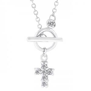 Temp Out of stock: Perfect Faith Necklace With Prong Round Cut Clear Cz In Silver Tone