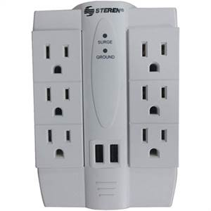 Steren 6-Outlet Swivel Surge Protector With 2 Usb Ports