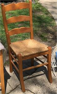 Ladder back chair, straw seat. Cherry Hill, NJ