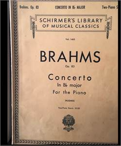 Brahms Concerto in B flat major.  Piano book. Cherry Hill, NJ