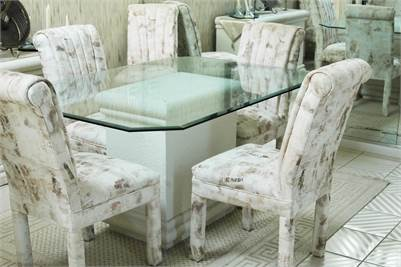Dining Room Table, Glass Table Top, 6 Fabric Covered Chairs, Buffet, Cherry Hill, NJ