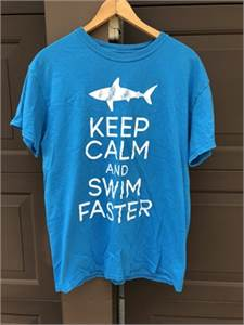 Keep calm and swim faster Shark Decal blue T-shirt Size Medium