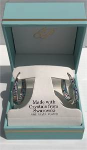 Silver Plated Earrings made with Crystals from Swarovski Excellent with gift box: Cherry-Hill-NJ
