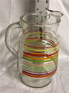 Pretty Glass pitcher Water Pitcher Striped Cherry Hill, NJ local pickup or shipping available