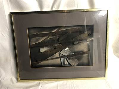 "Grey Elements Art, framed, excellent 19"" H x 25"" W Cherry Hill, NJ local pickup, shipping available"