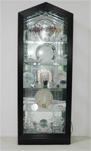 Tall, Mirrored, Lighted Curio Cabinet.  Black Cabinet, Double Beveled Glass, Cherry Hill, NJ