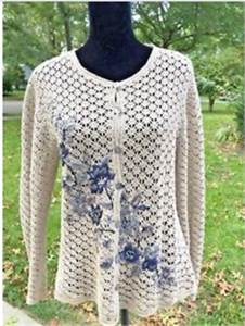 Capacity Women's button Down Crochet sweater  Size large  With floral motif
