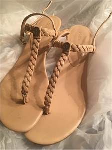 cute!  9 1/2 B Beige Sandals like new condition $14.00 shipped