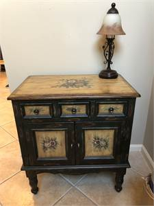 entry Cabinet, Foyer Table, Pretty Floral Green Table or Cabinet for Entrance Cherry Hill, NJ