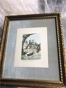 Vintage Paris Notre Dame Picture Framed and Matted