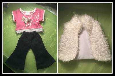 Shirt, Doll Vest and Pants. Fits American Girl or Generation Doll