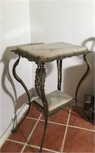 Antique  Marble Top Side Table  with Brass
