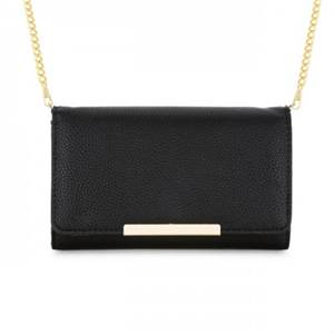 Laney Black Pebbled Faux Leather Clutch With Gold Chain Strap. colors: red, burgundy and tan also