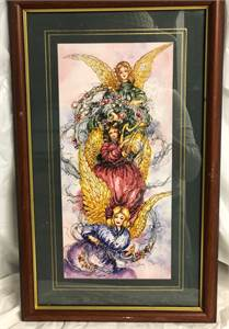 Charles Humphrey matted and framed Christmas Angels Print, Harp, Music 12 x 21, Angel Art $15.00