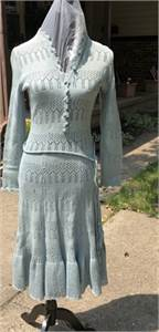Beautiful Vintage Crochet Blue Dress, Cherry Hill, NJ