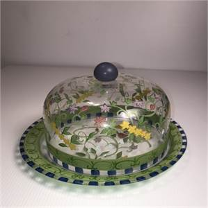 Beautiful Floral Glass Cake Plate with Glass Lid, Cherry Hill, NJ