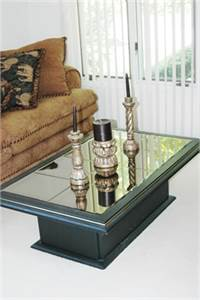 Sold! Mirrored Coffee Table, Black Coffee Table, color Gold Perimeter Trim, Cherry Hill, NJ