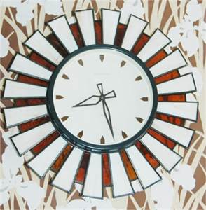 Sold! Vintage, Mid Century Modern, Robert Abbey, Stain Glass,  Retro Kitchen Clock, Cherry Hill, NJ