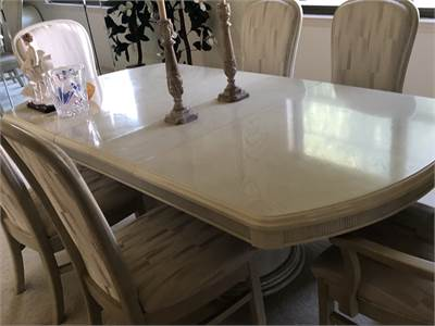 Dining Room Table and Chairs: Soft Earth Tones Neutral, white washed fabric covered cherry-hill-nj