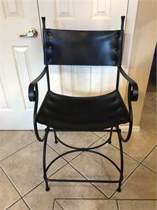 Beautiful bar stools, black leather, with scroll arms and legs, just lovely, Cherry Hill NJ