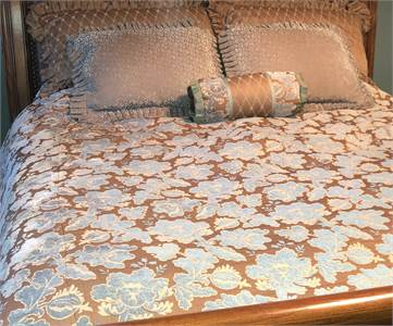 King Size Duvet Cover and coordinating pillows powder blues and mocha brown colors