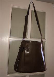 Longchamp Stunning High Gloss Metallic Brown Shoulder Bag Purse Excellent