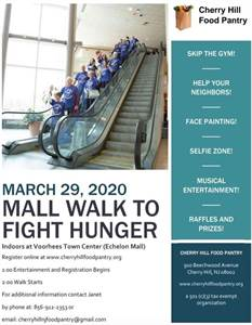 3/29/2020: Virtual Cherry Hill Food Pantry Fundraiser: Mall Walk to Fight Hunger
