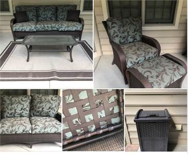 AUCTION: beautiful outdoor furniture by Fortunoff featuring outdoor wicker and quality construction