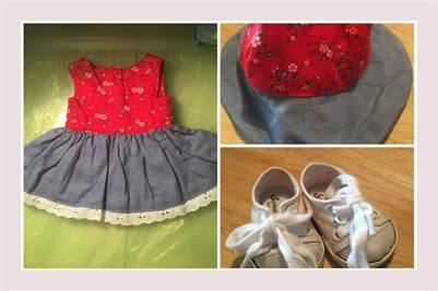Handmade, Summer Dress, hat, and sneakers. fits American Girl Doll Generation Doll. Free Shipping
