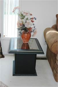 Sold! 2 End Tables, Black End Tables, Gold Color Trim, Mirror Top End Tables, Cherry Hill, NJ