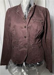 calvin klein chocolate brown jacket size small snap down waist hugger jacket, pockets-cherry-hill-nj