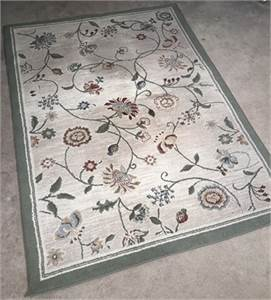 """5' 3"""" x 7' 6"""" area rug preowned greens beige and other colors-cherry-hill-nj"""