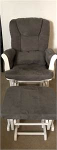 Sold ! Glider Rocker with Ottoman grey and white colors cherry-hill-nj