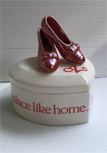 There's no place like him wizard of oz heart box with ruby red slippers on top