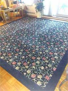Gorgeous blue floral area rug dense pile 12x12 Custom Made Cherry Hill, NJ local pickup