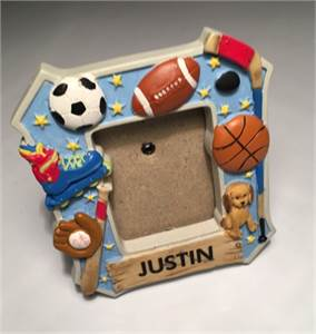 "2"" x 2"" Magnetic Frame Personalized Frame Justin with Free Shipping"