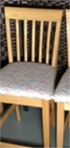 1 Bar Stool, Blonde Wood Stain. Light and bright fabric with earth tones-cherry-hill-nj