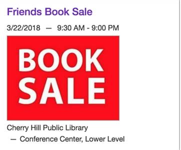 3/22, 3/23, 3/24: Book Sale at the Cherry Hill Library . Cherry Hill, NJ 08034
