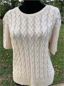 Jones of New York Cable Knit Short Sleeve Sweater Womens Large